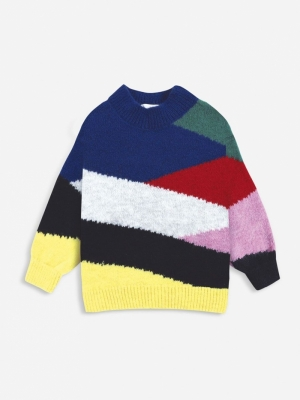 MULTI COLOR BLOCK KNITTED JUMP logo